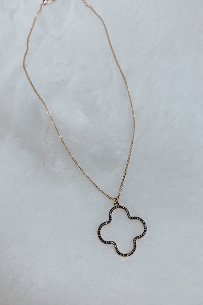 Crystal Paved Clover Necklace