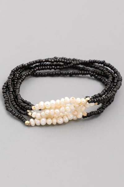 Black and pearl stretch bracelet set