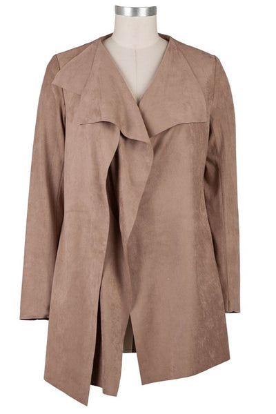 Bernette Long Faux Suede Drape Jacket
