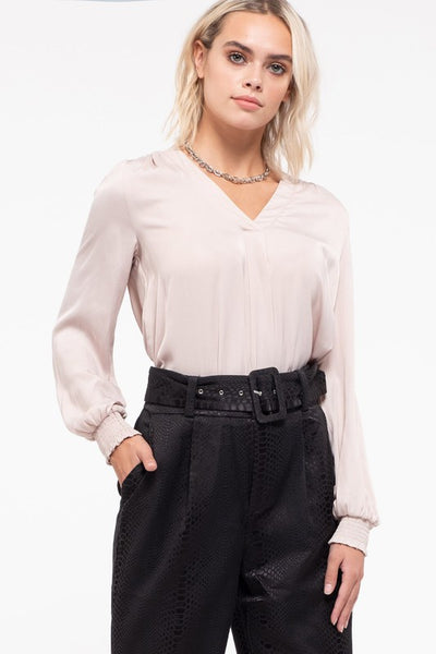 V-Neck Blouse with Smocking Cuff