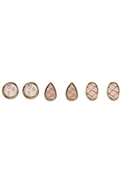 3 Multi Shape Snakeskin Print Stud Earrings Set