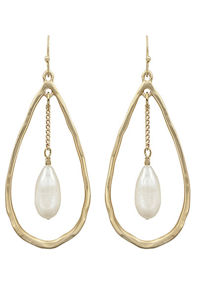 Pearl and Tear Drop Earring