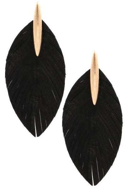 Genuine Leather Feather Drop Earrings