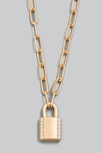 Cable Chain Padlock Pendant Necklace