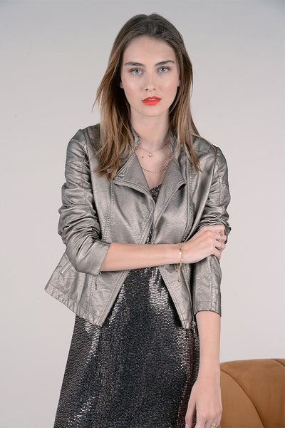 Faux Leather Shimmery Jackets
