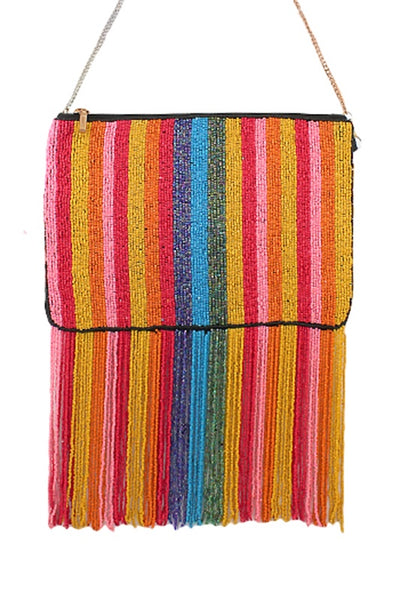 Multi Color Bead Fringe Bag