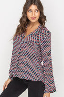 Lapel Collar Wide Sleeve Print Blouse