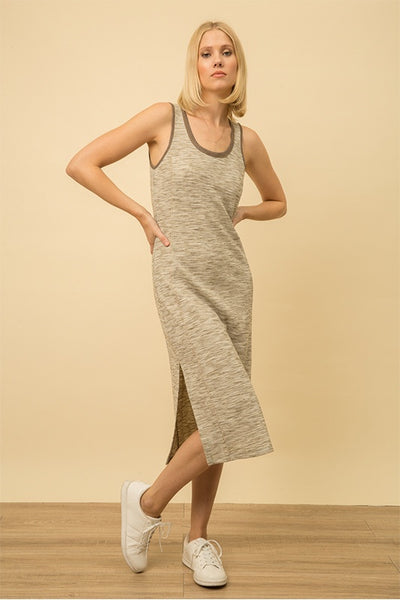 Melange Dress with Side Slit
