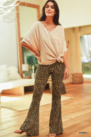 Soft Leopard Print High Waist Flared Leggings