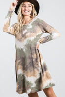 Tie Dye Long Sleeve Dress with Pockets
