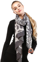 Animal Print Oblong Scarf with Small Fringe