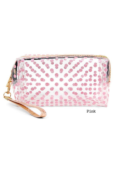 Clear Polka Dot Makeup Bag