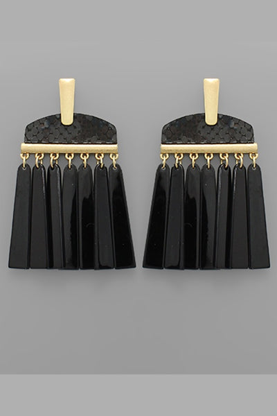 Black Animal print & Tassel Earring
