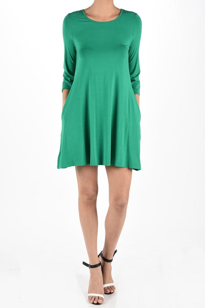 3/4 Slant Sleeve Dress with Pockets