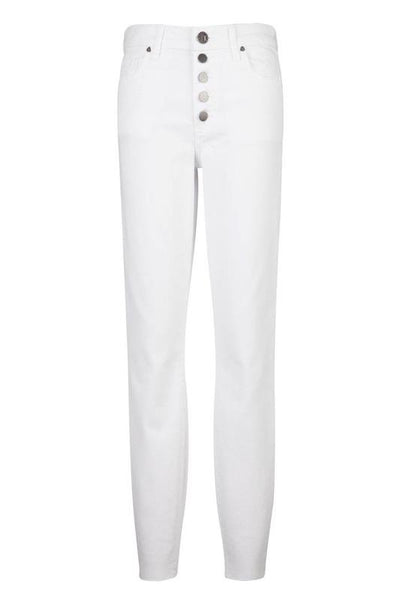 Connie High Rise Ankle Skinny Exposed Button & Raw Hem