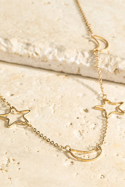 Open Moon and Star Cut Out Necklace