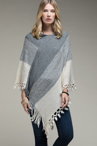 Gradient Poncho with Tassel