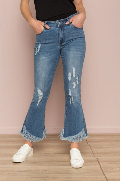 Fringe Hem Semi Bootcut Crop Denim