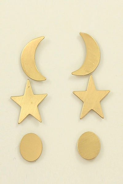 Crescent and Star Trio Studs