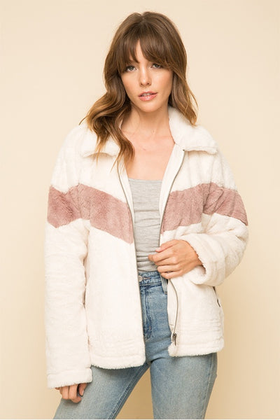 Color Block Faux Fur Bomber