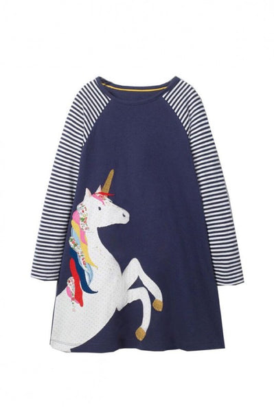 Kid's Unicorn Stripe Sleeve Dress