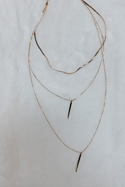 Layered Necklace with Double Bar
