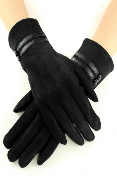 Double Stripe Suede Gloves