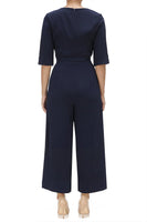 Elbow Sleeve Jumpsuit with Tie Waist