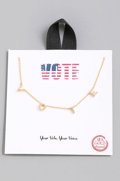 "Dainty ""VOTE"" necklace"