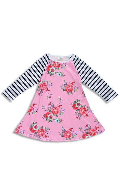 Kid's Stripe & Floral L/S Dress