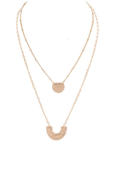 Double Layered Hammered Metal Circle/Horseshoe Pendant Necklace