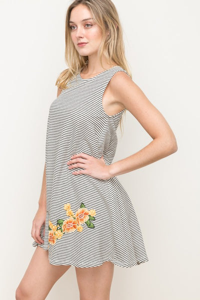 Embroidered Detail Stripe Terry Dress