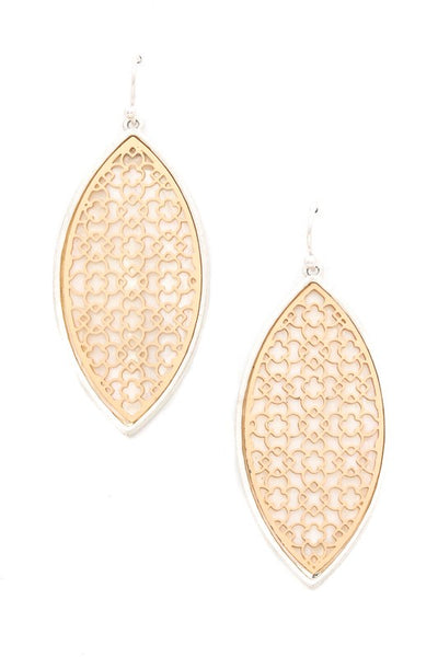 Teardrop earring w/ geometric pattern