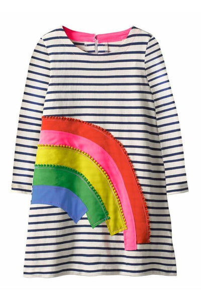 Kid's Colorful Rainbow Stripe Dress