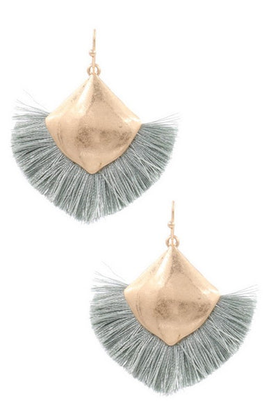 Hammered Metal Cotton Tassel Drop Earrings