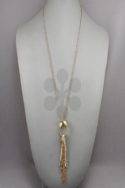 Twisted Oval with Bead Tassel Necklace