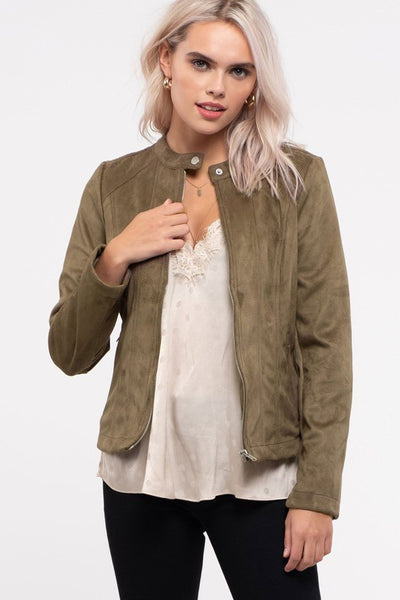 Stand Collar Faux Suede Moto Jacket