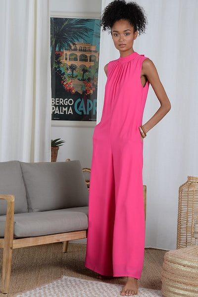 Premium Jumpsuit with Tie Neck