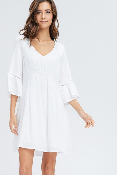 Stella V-Neck Smocking Dress