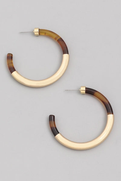 Acetate Metal C Hoop Earrings