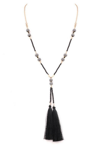Pave Glass Bead Cotton Tassel Necklace