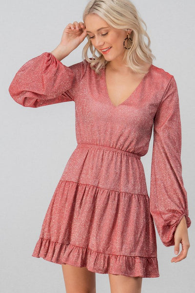 Shimmer Glitter Ruffle Dress