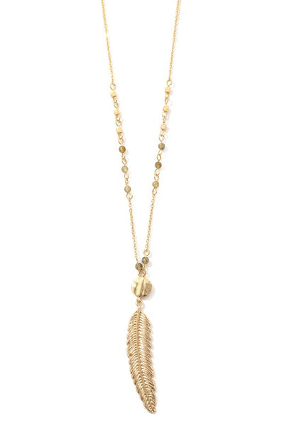 Feather Charm Long Necklace