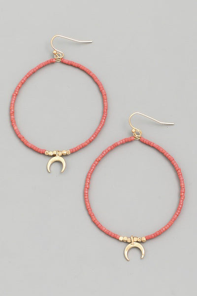 Beaded Moon Hoop Drop Earring
