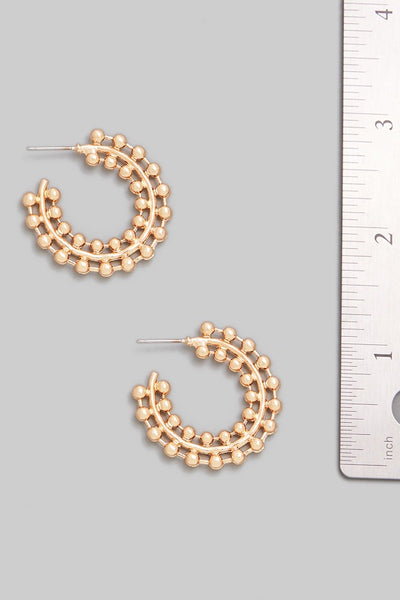 Double beaded look Hoop Earring