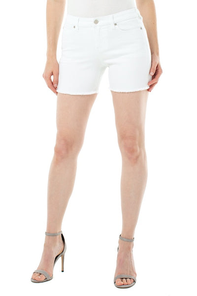 Vickie Bright White Fray Shorts
