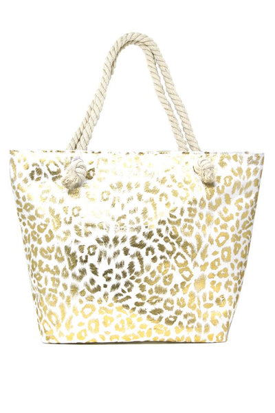 Large Leopard Beach Tote