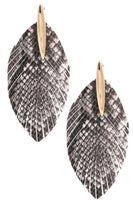 Faux leather snake print feather drop earrings