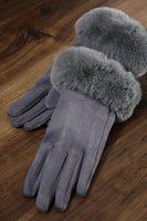 Faux Suede Gloves with Faux Fur