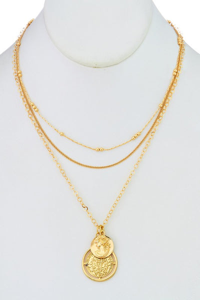 Layered Gold Plated Coin Pendant Necklace